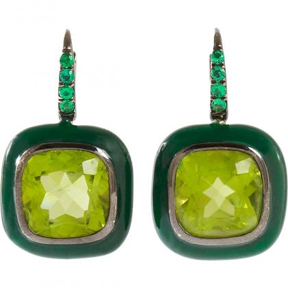 Emerald & Peridot Drop Earrings